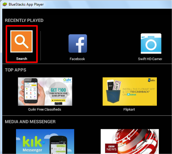 search bluestacks for android apps