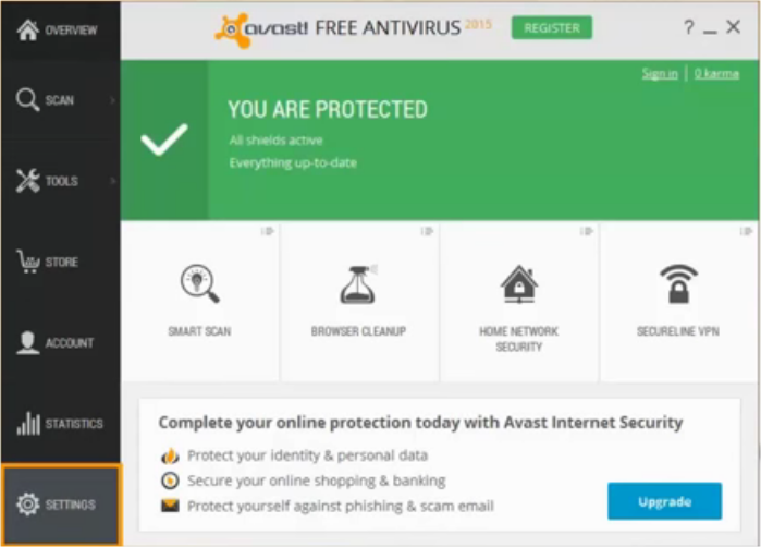 Avast Antivirus Interface on Windows 10 PC