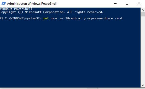 adding new user with powershell in Windows 10