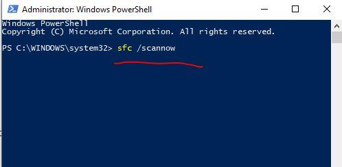 sfc scannow to run file checker in Windows 10