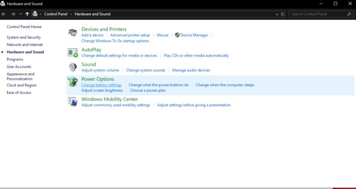 Power Options menu on Windows 10