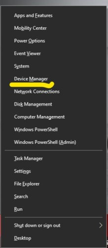 Press Windows + X To select the Device Manager