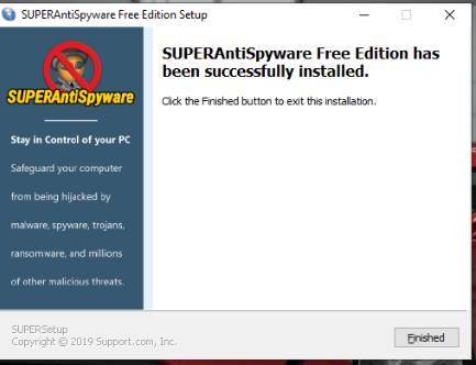 SUPERAntiSpyware Free Edition has been successfully Installed