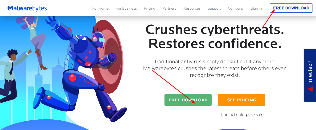 Malwarebytes free download on official website
