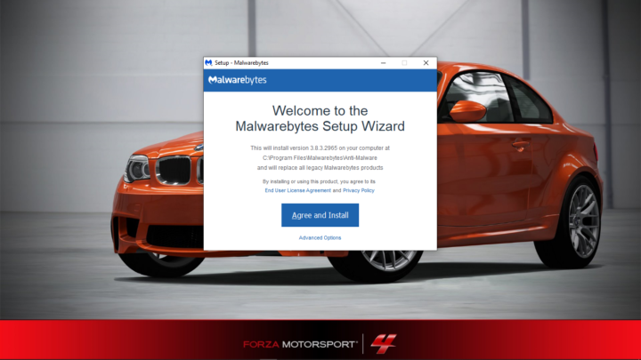 Malwarebytes setup screen on Windows 10