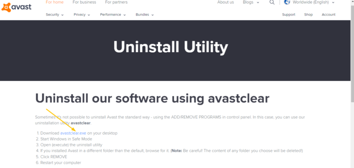 Uninstall Avast Antivirus on Windows 10